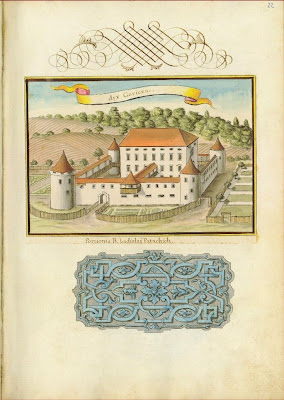 page from Status familiae Patachich with castle view