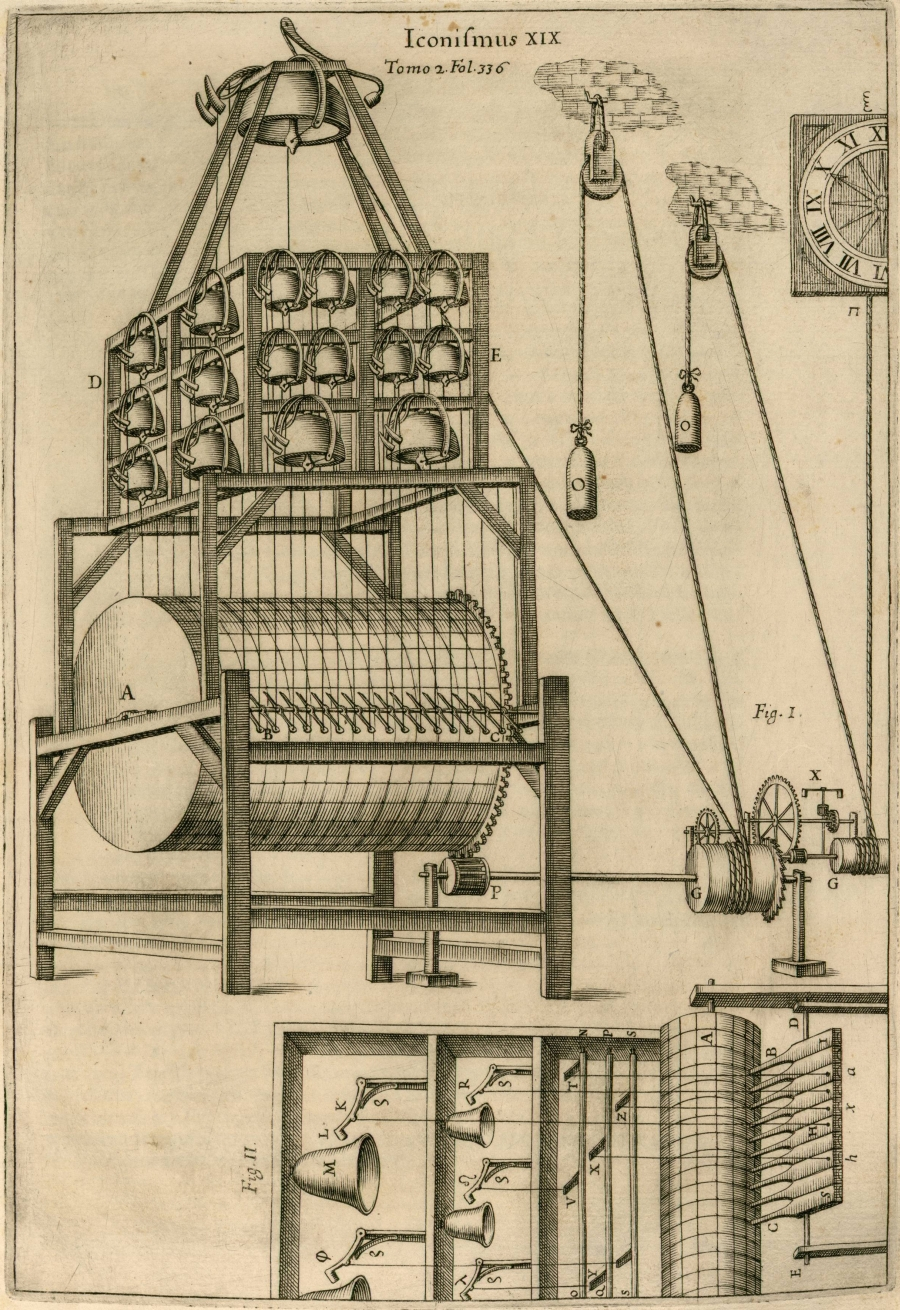 clock bell chime via pulleys