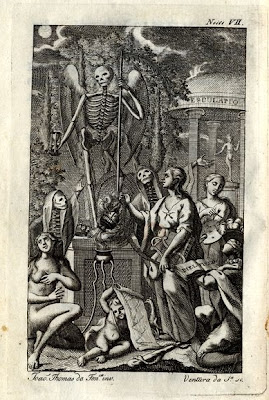 Skeleton statue allegory and worshippers