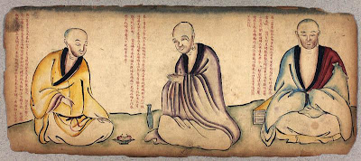 monks in Tibet sketch