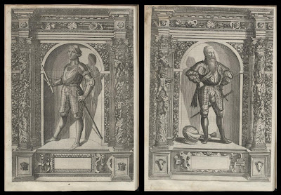 2 images of knights on grotesque platforms