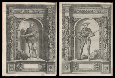 2 images of knights surrounded by grotesques