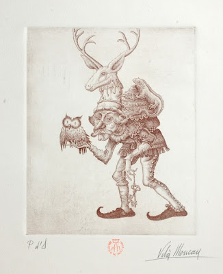stooped old 'gnome' with deer head crown