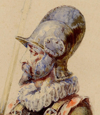 watercolour medieval soldier (detail of face)