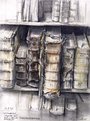 print of books on a shelf