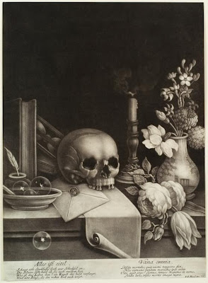 skull and flowers on cupboard