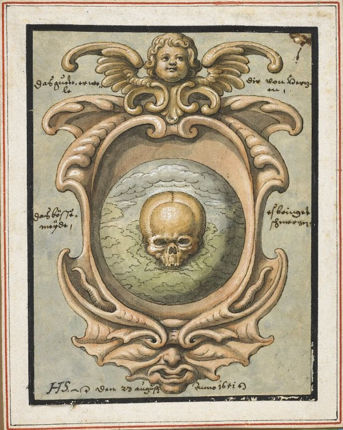 Skull in a cartouche, with a grotesque mask below and a cherub above