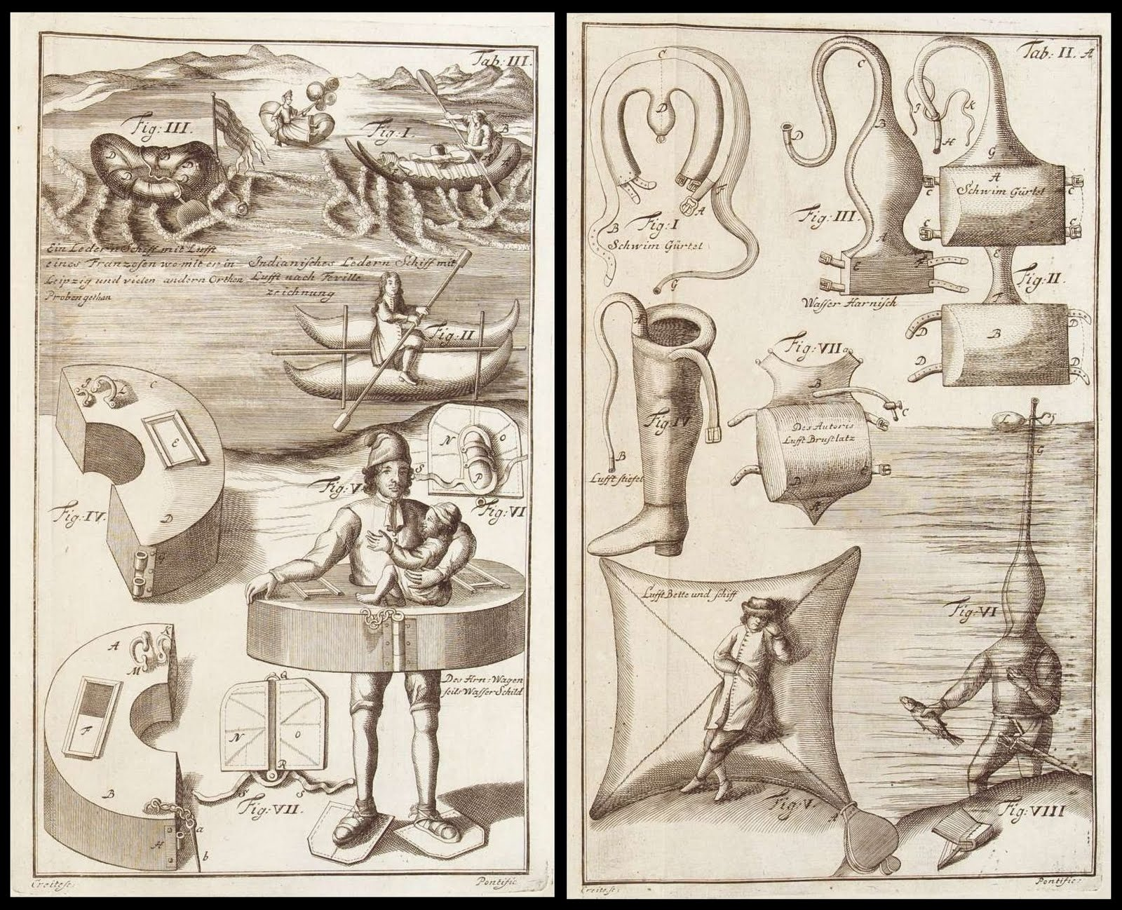 18th cent. engravings of scuba and flotation devices