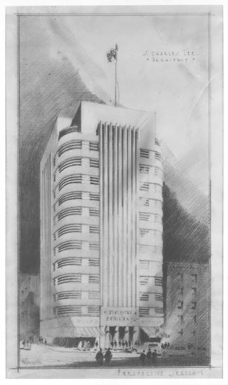 art deco office tower drawing