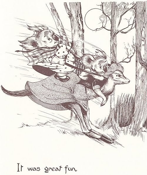 'It was great fun! - Dorothy Wall illustration (kangaroo as transport)
