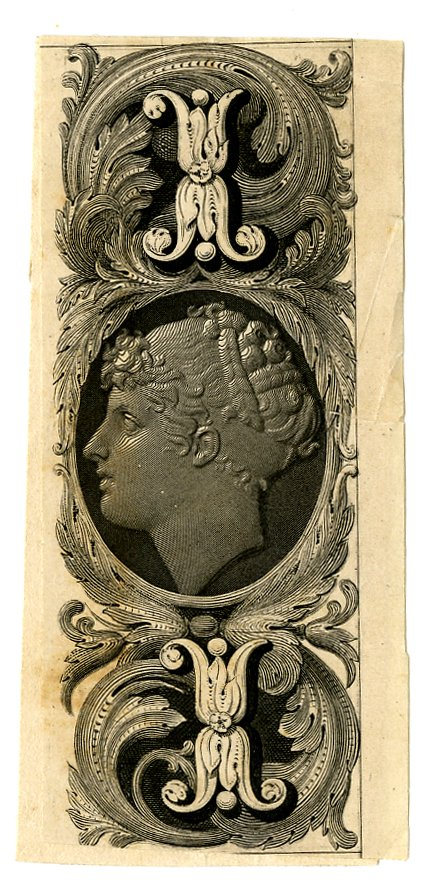 Vertical format. Female profile portrait at centre. Ornamental patterns at lower and upper centre. Design printed in black on tan paper. (19th c)
