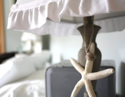 starfish hanging on bedroom lamp