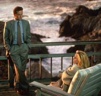 Michael Douglas and Sharon Stone in Basic Instinct at cliffside mansion