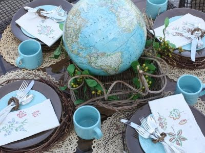 vintage globe as table top centerpiece