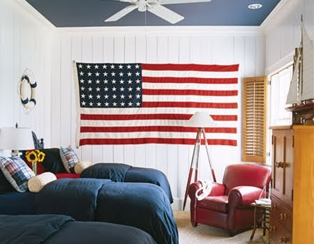 American flag in bedroom