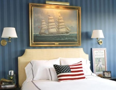 marine art above headboard