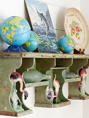 globes on shelf
