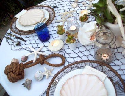 pottery barn inspired summer beach table decor