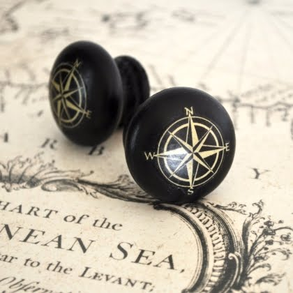 nautical decal knobs with compass design
