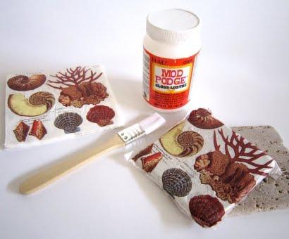 make decoupage coasters using napkins and mod podge