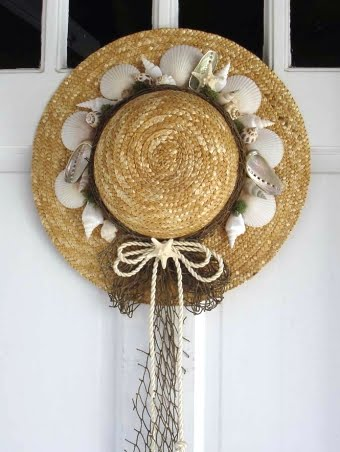 straw hat wreat front door