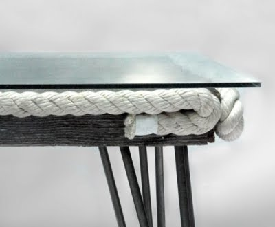 recycled wood coffee table with rope detail