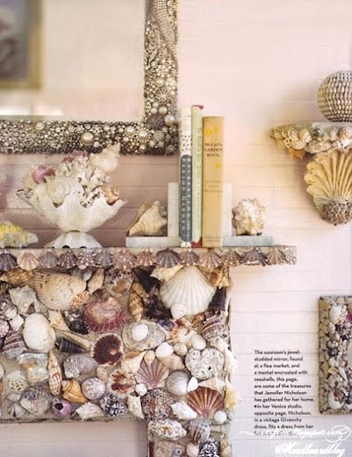 shell encrusted mantel shelves and frames