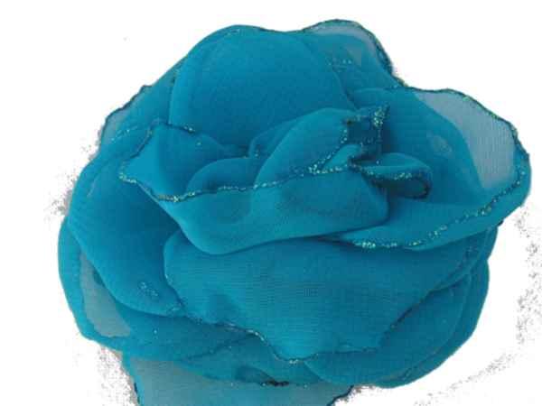 Rosa de gaza turqueza con bordes en glitter.