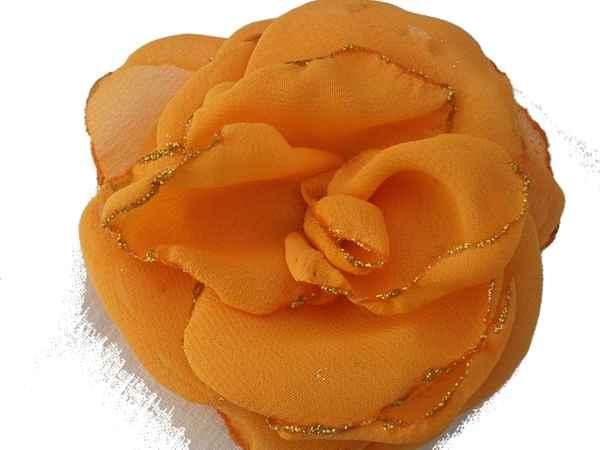 Rosa de gaza naranja con bordes en glitter