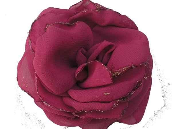 Rosa de gaza fuxia con bordes en glitter.
