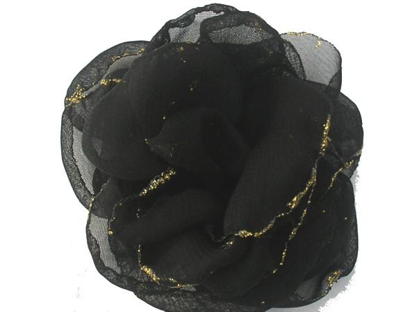 Rosa de gaza negra con bordes en glitter.