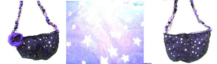 Cartera tornasolada violeta.