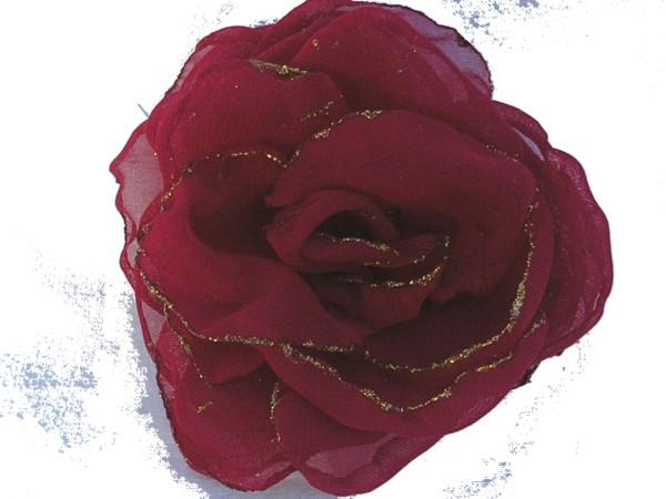 Rosa de gaza Roja con bordes en glitter
