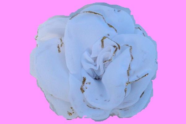 Rosa de gaza Blanca con bordes en glitter