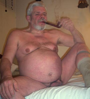 Grandpa smoking nude