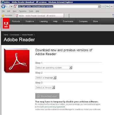 PC Tech Go: Link to Download Older Adobe Reader Versions