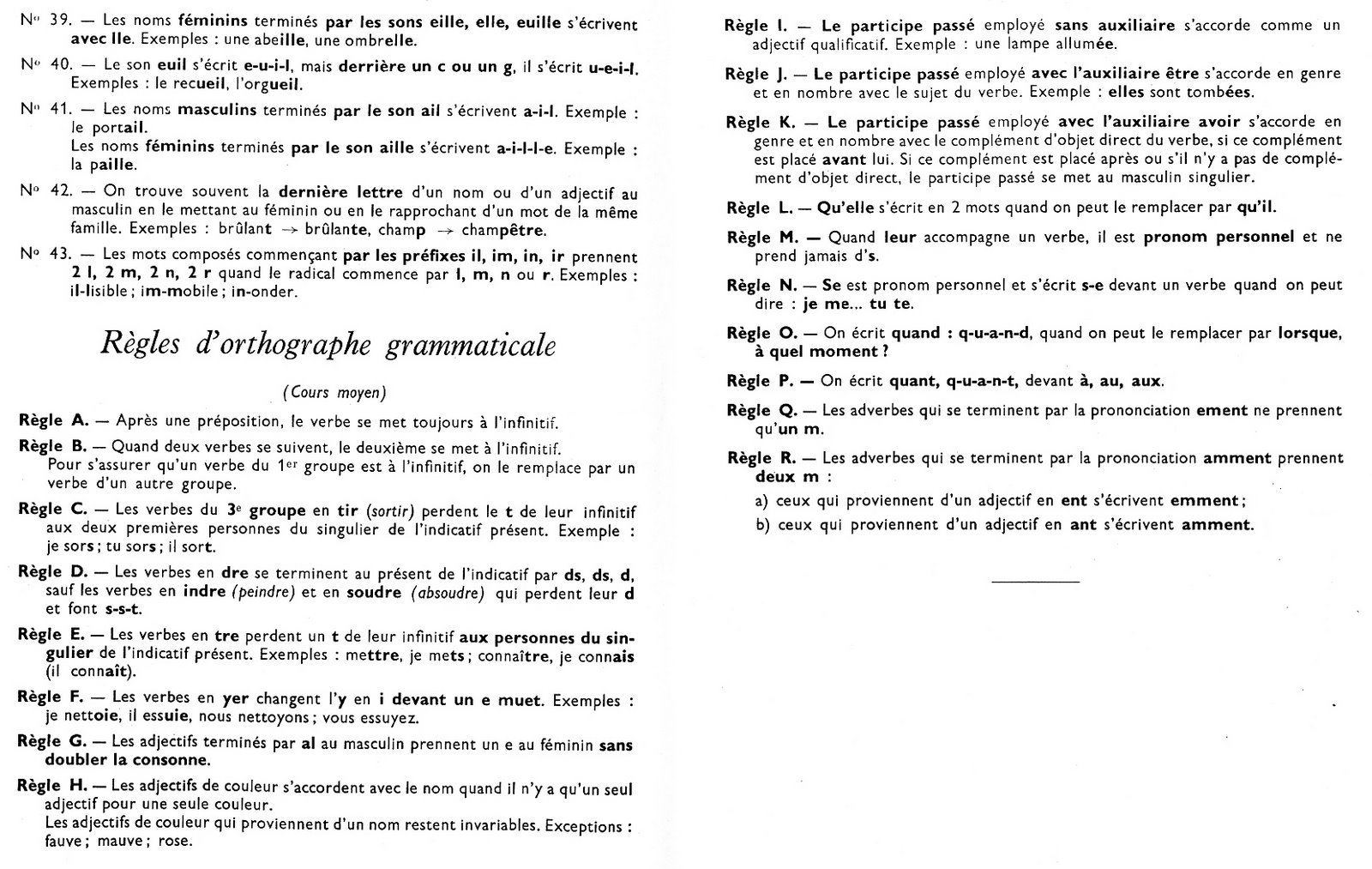 orthographe grammaire cours