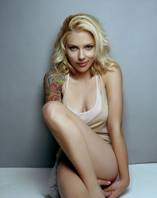 Scarlett Johansson WIth A Tattoo, favorite celebrities with tattoos