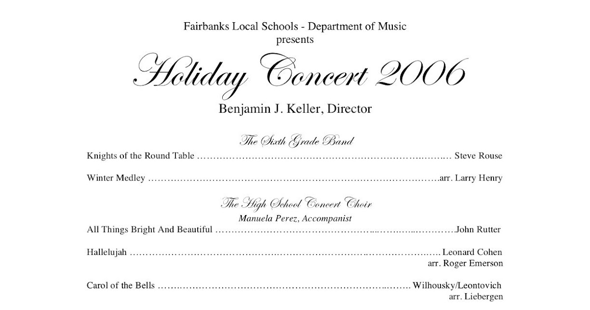 WednesdayS Concert Program