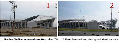 Gambar Stadium Sultan Mizan Runtuh