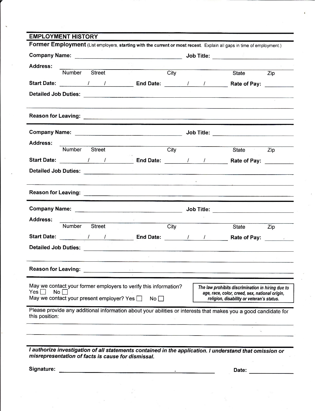 Blank Generic Employment Application Form | Cv Format Of Marriage