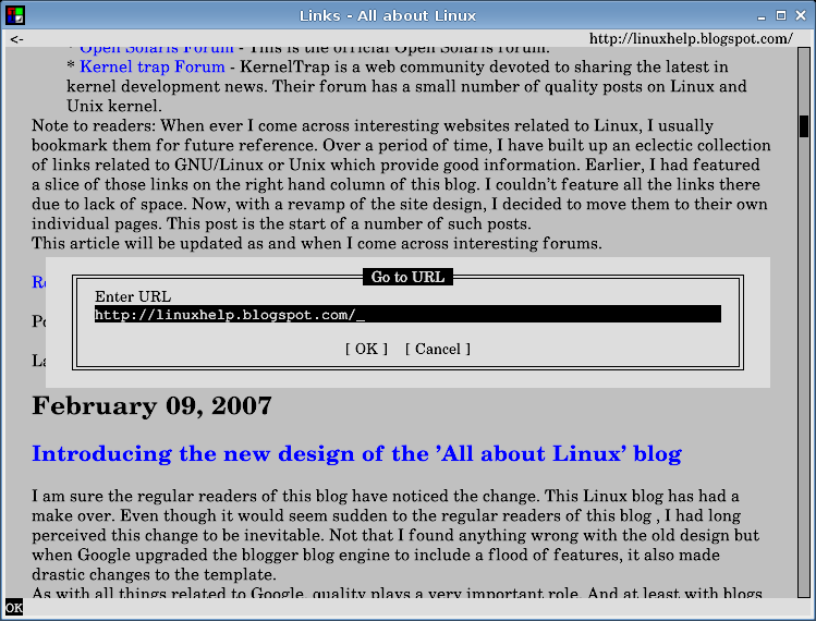 All about Linux: links2 - a cross platform console based web