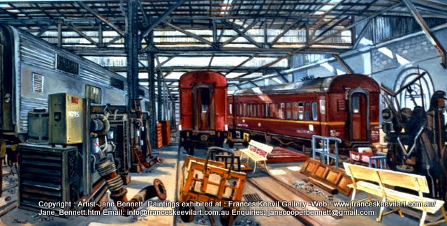 oil painting  of  trains in Eveleigh Railway Workshops by artist Jane Bennett