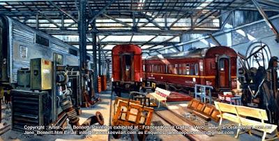 Plein air oil painting  of  trains in Eveleigh Railway Workshops by artist Jane Bennett