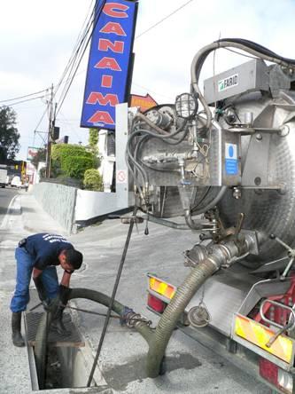 Limpieza de alcantarillas con el Vactor