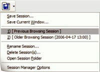 Sesion manager Firefox extension