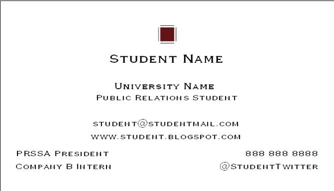 Social Media & Public Relations: Business Cards For PR/Social Media Students: Is Social Media
