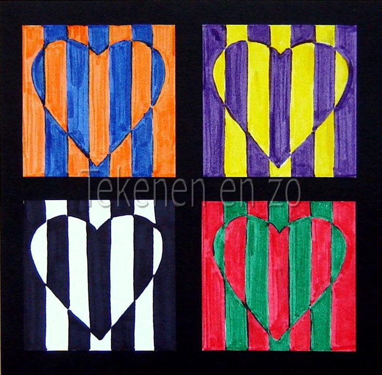 Line Art Grade 2 : Tekenen en zo op art in complementaire kleuren