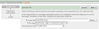 start to import apex application