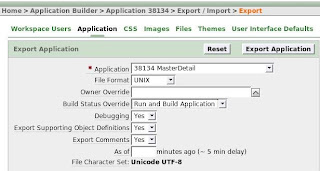 set apex application export settings